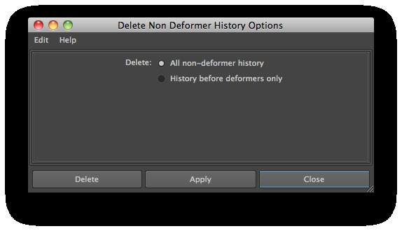 delete non-deformer history options