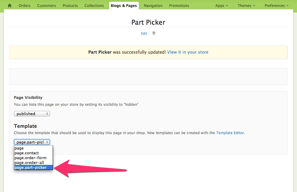 part picker template page