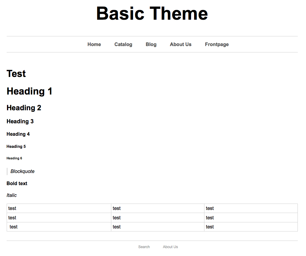 test page after css
