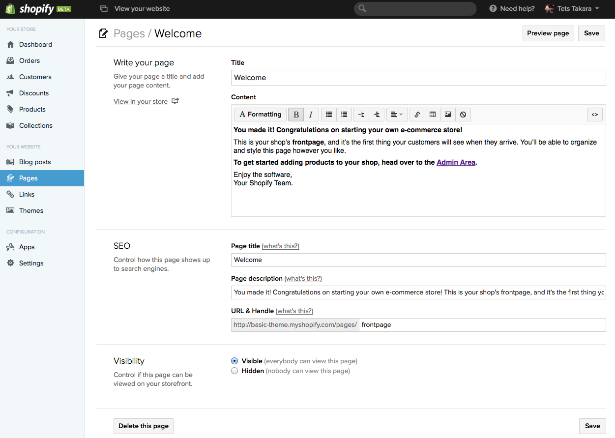 default welcome page