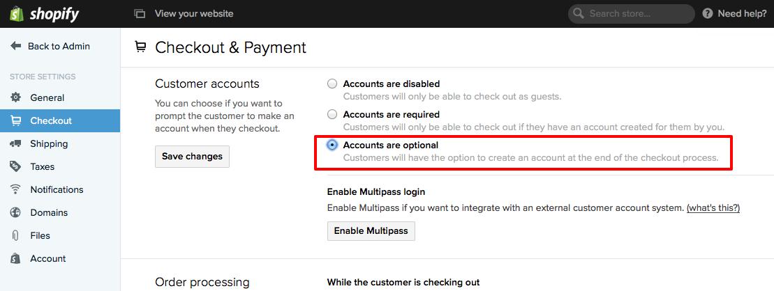 enable customer accounts