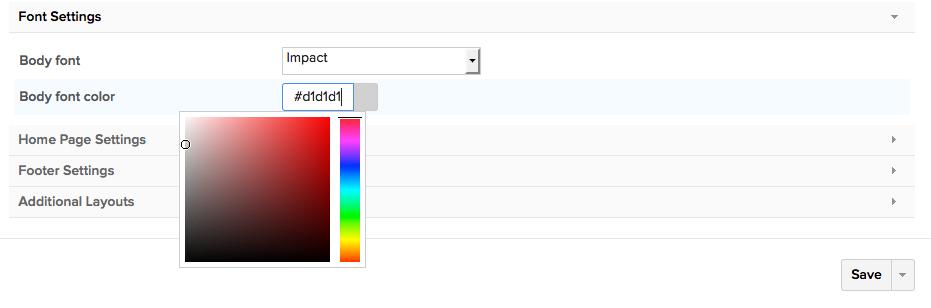 theme settings class colour