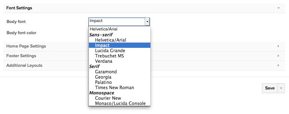 theme settings class font