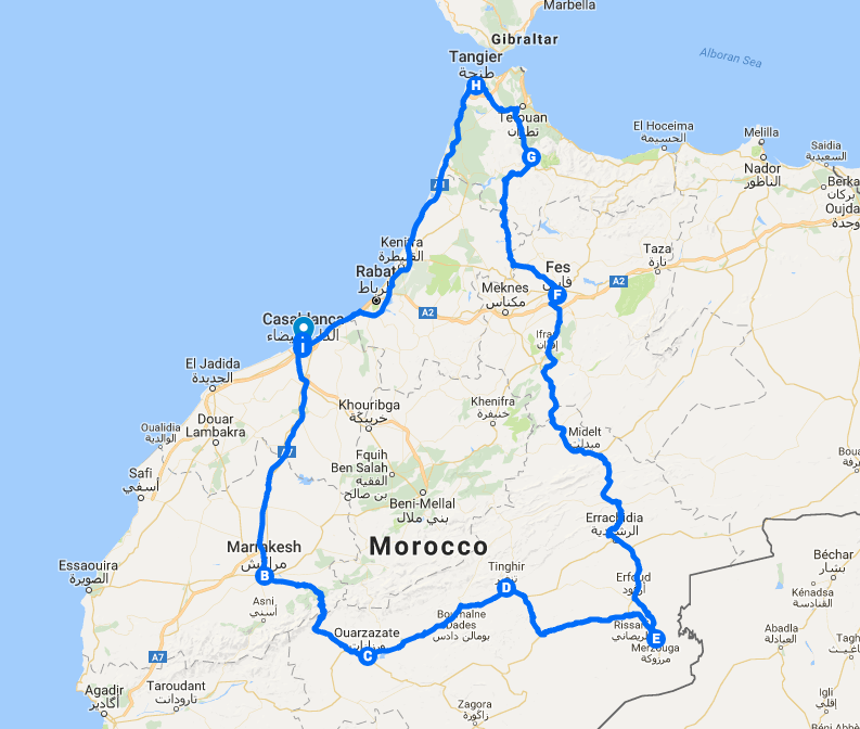 Map of our Moroccan travel path. We went from Casablanca to Ouarzazate, then Merzouga, then Fes, Chefchaouen, Tangier, then back to Casablanca.