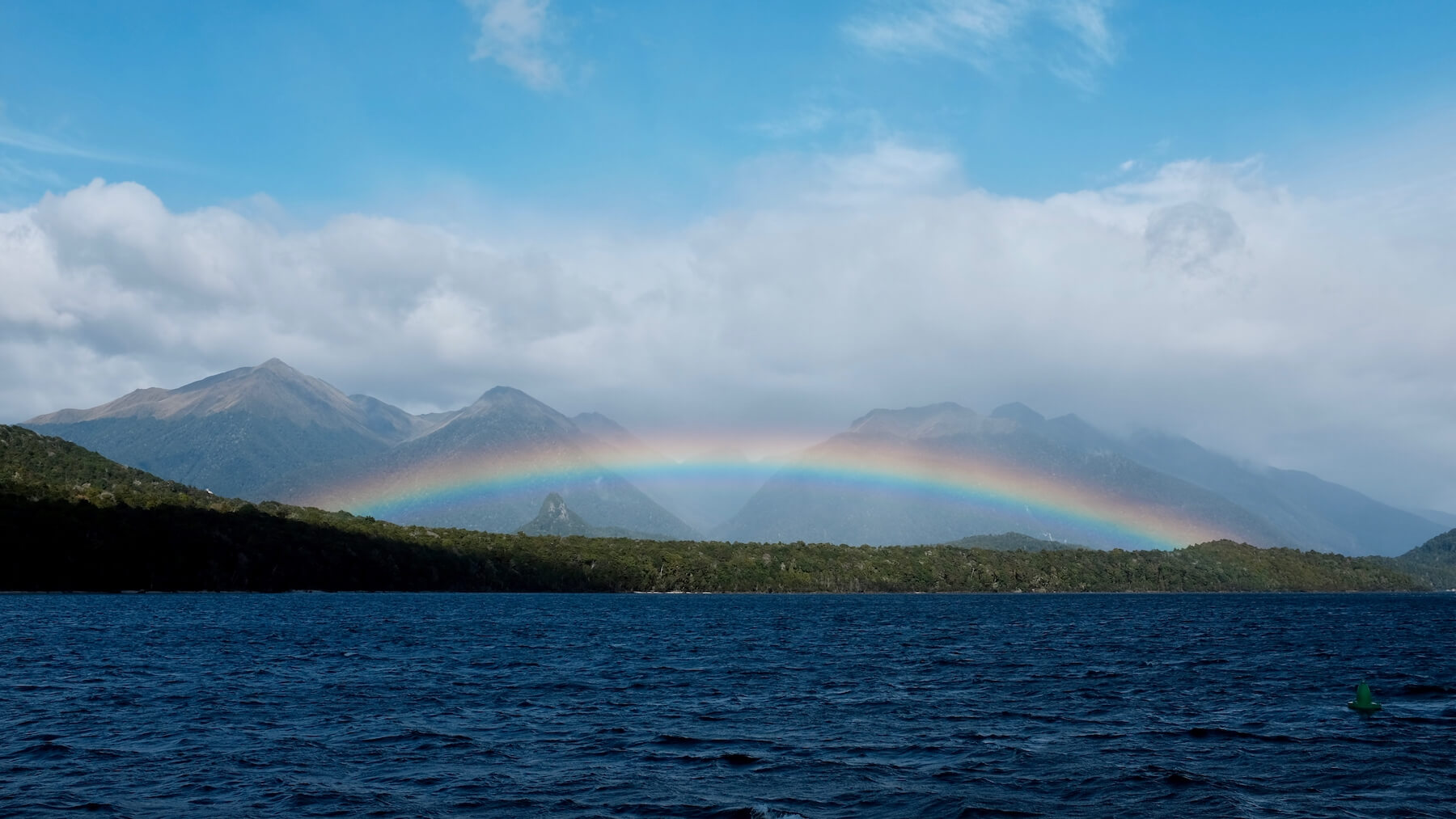 Beautiful rainbow on our way to Doubtful Sound.