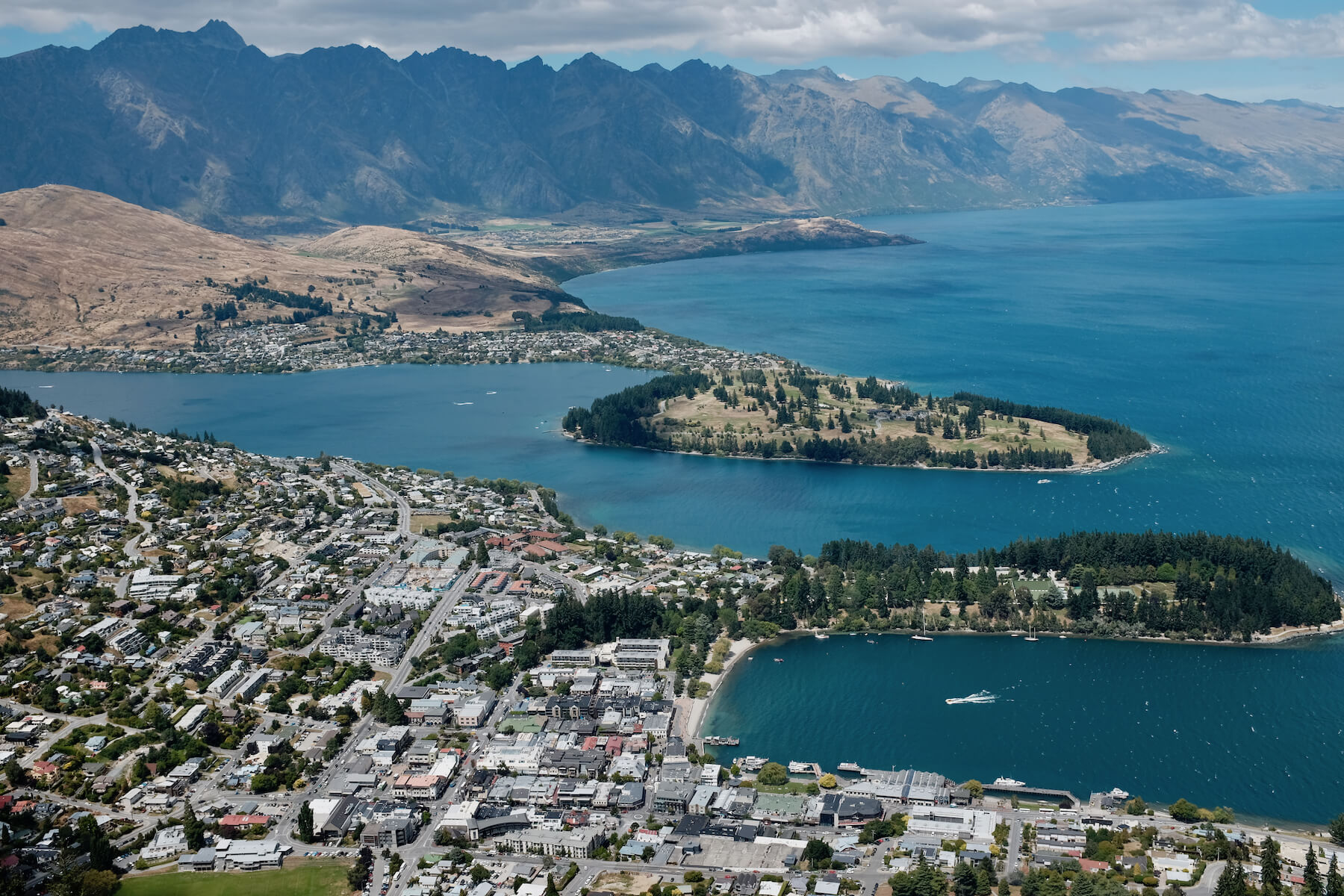 View of Queenstown from the top.